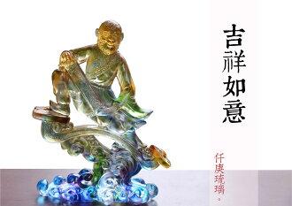 仟庚琉璃 手工琉璃 吉祥如意猴 丙申猴年 新年擺飾 萬事如意