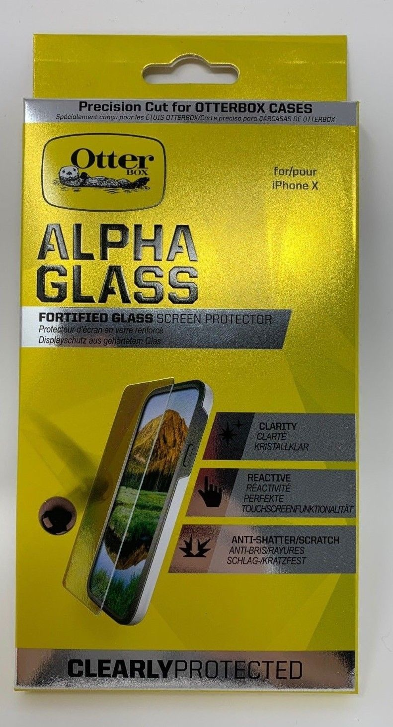 Original OtterBox Alpha Glass Screen Protector CLEAR for iPhone X, Xs, & XS  MAX