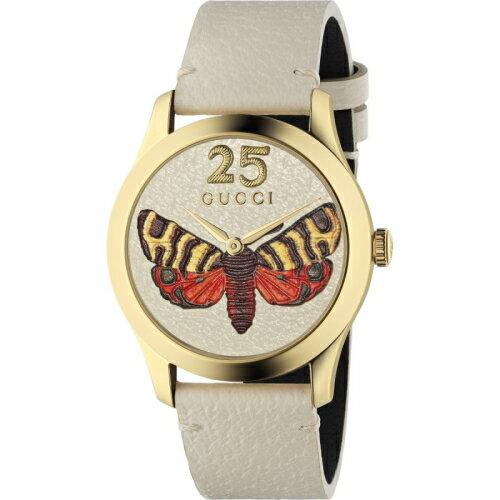 GUCCIG-Timeless前衛浮刻蝴蝶牛皮時尚腕錶1264062
