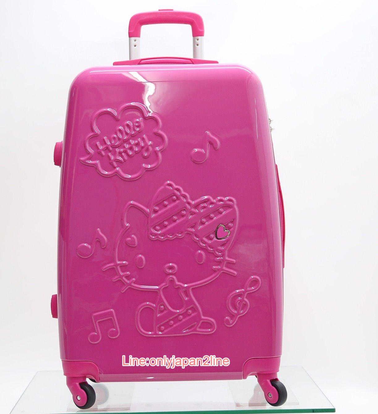 【真愛日本】16061600002旅行箱 20吋/24吋-夢幻樂章桃   三麗鷗 Hello Kitty 凱蒂貓 行李箱 登機箱