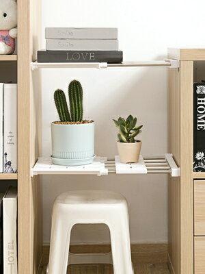 衣櫃分層隔板 居家家可伸縮衣櫃收納分層隔板免打孔衣櫥自由組合隔斷塑膠分層架『MY2637』