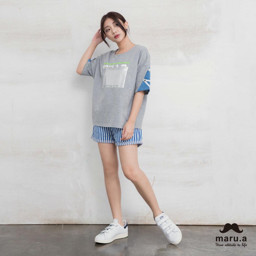 【maru.a】彩色方塊刺繡直條紋短褲(2色)7925112 9
