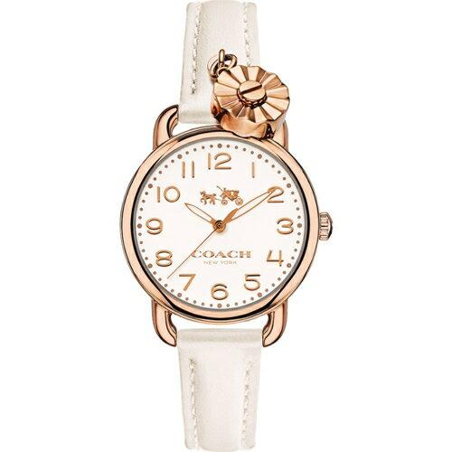 COACH 魅力小花流行時尚玫瑰金女錶
