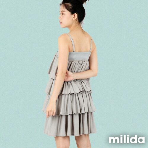 【Milida,全店七折免運】-早春商品-細肩款-百褶裙洋裝 1