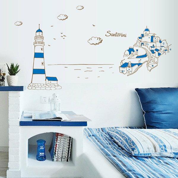 BO雜貨【YV0613】DIY可重複貼 時尚壁貼 創意璧貼 地中海 愛情海 城堡 聖托里尼 希臘 AY9185