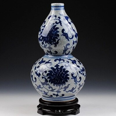 陶瓷花瓶 青花瓷瓷器 擺件~仿古官窯裂紋葫蘆居家擺飾73c30~ ~~米蘭 ~
