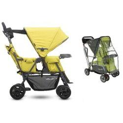 【淘氣寶寶】 美國 Joovy Caboose Ultralight Graphite 輕量級雙人推車/兄弟車【黃色+第二座椅+專用雨罩】