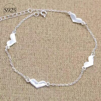 925純銀手鍊手環~心型 隨性時髦情人節生日 女飾品73dp115~ ~~米蘭 ~