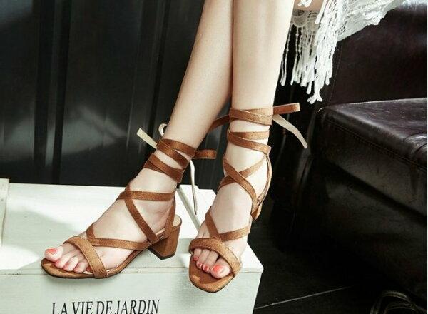 Pyf ♥ 歐美羅馬粗綁帶 絨面低跟涼鞋 超穩好走 42 大尺碼女鞋