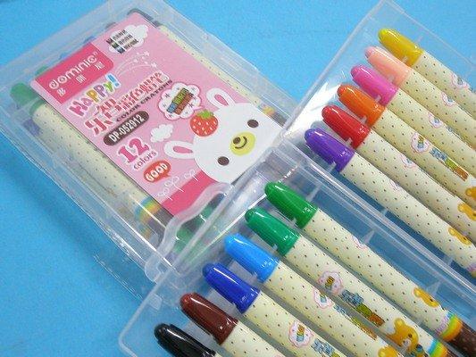 12色旋轉蠟筆 DP-052912 多咪尼樂智旋轉蠟筆(短型彩桿.硬盒)/一組入{促79}