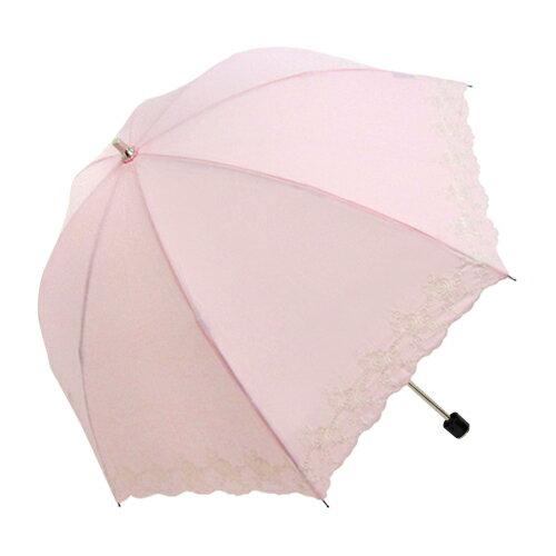 刺繡白玫瑰二折手開傘 TC棉布 0