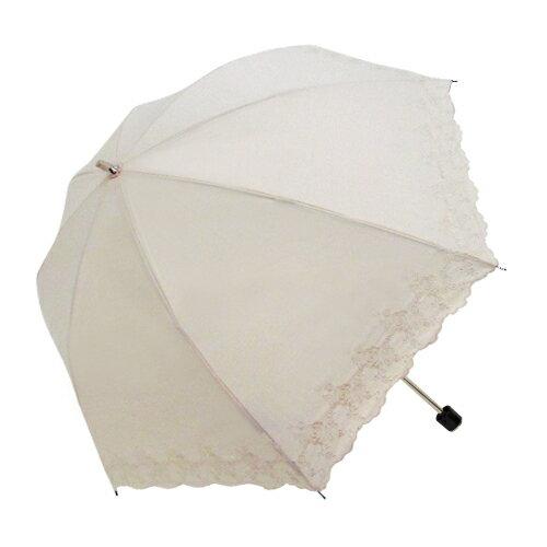 刺繡白玫瑰二折手開傘 TC棉布 2