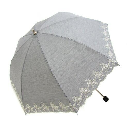 刺繡白玫瑰二折手開傘 TC棉布 3