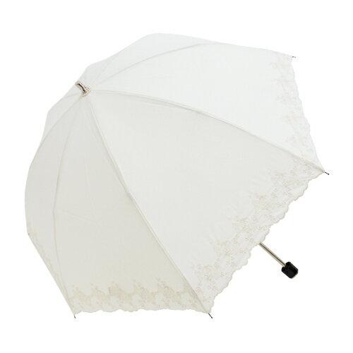 刺繡白玫瑰二折手開傘 TC棉布 4