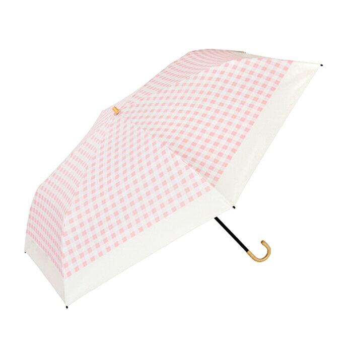 粉紅格子灰膠遮光折傘 日本最愛 187g 0