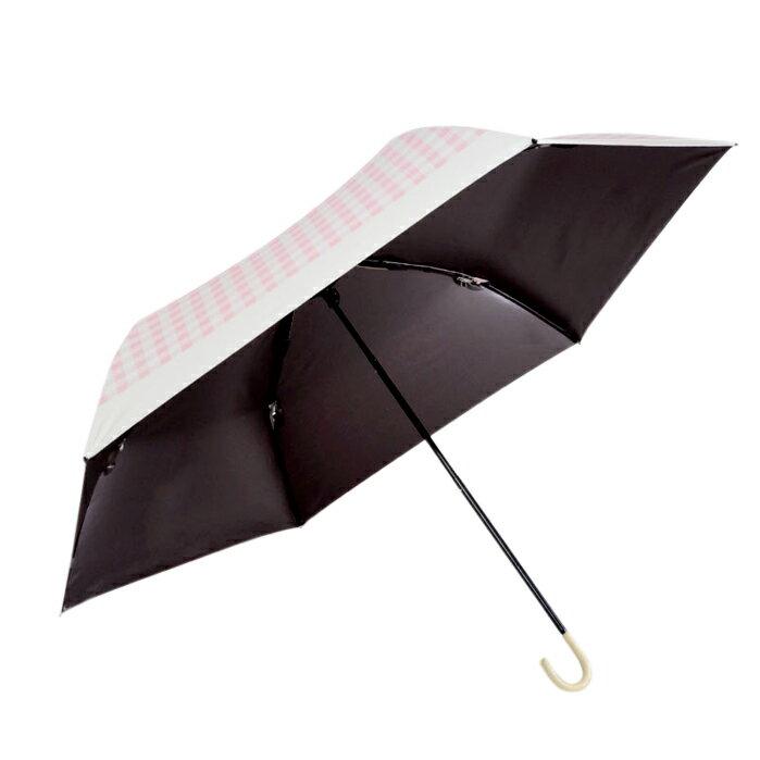 日本最愛 粉紅格子灰膠遮光折傘 187g 1