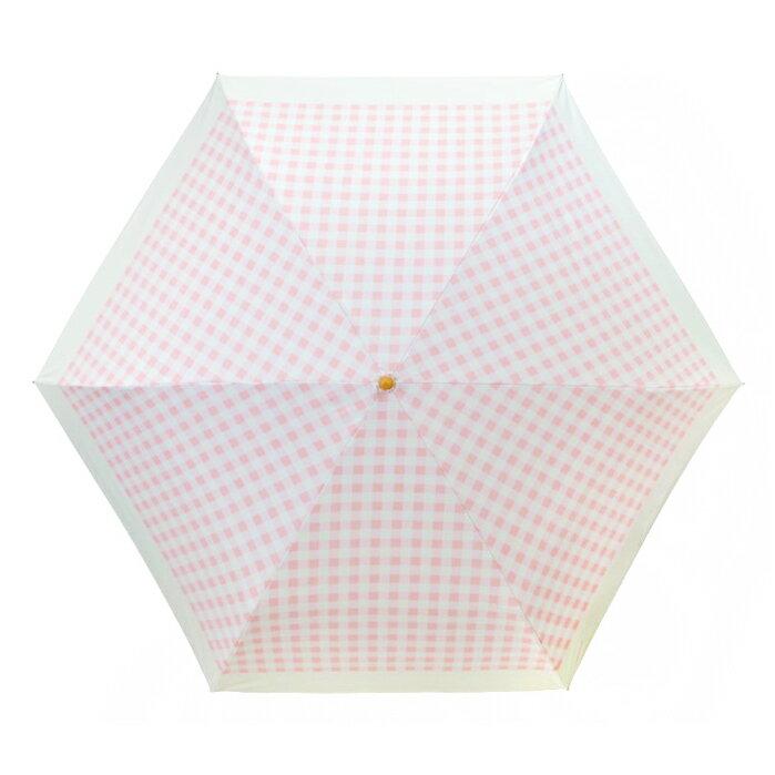 日本最愛 粉紅格子灰膠遮光折傘 187g 2