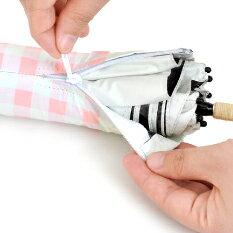 粉紅格子灰膠遮光折傘 日本最愛 187g 6