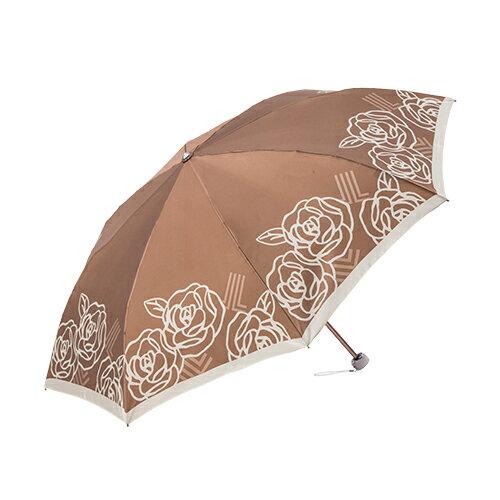 日系玫瑰緞面手開折傘 獨家專利傘架 玫瑰圖騰 0