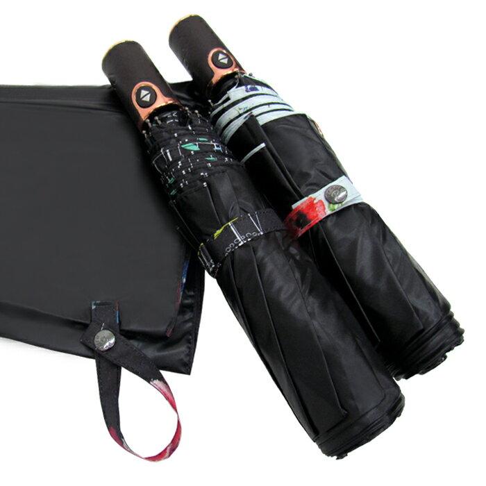 遮光黑膠印花自動折傘 皮雕傘頭 春雨綿綿必備 2