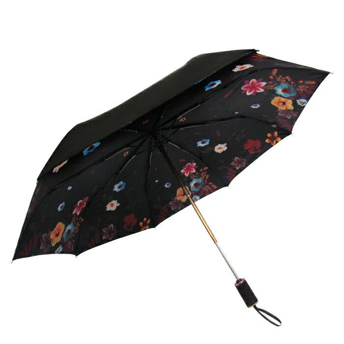遮光黑膠印花自動折傘 皮雕傘頭 春雨綿綿必備 0