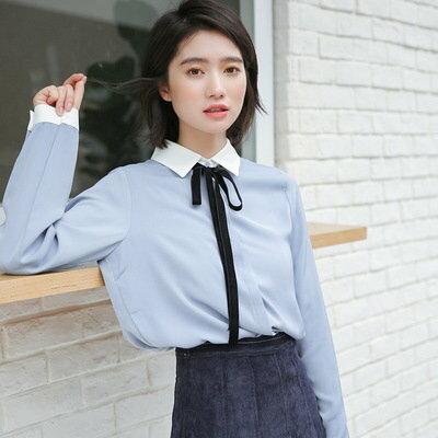 限@linewendy小姐下單(補單)純色翻領繫帶長袖襯衫