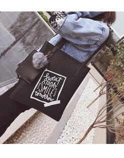 韓版磨砂毛球學生手提包手提袋書包休閒包大包可放A4