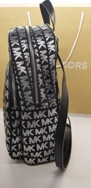 美國Michael Kors黑色 / 銀色MK LOGO刺繡布面設計 後背包 限量款 3