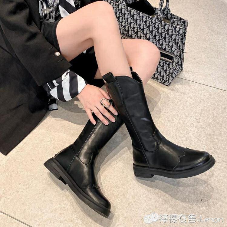 中筒靴女春秋單靴網紅百搭西部牛仔騎士長靴40大碼42平底瘦瘦靴子-韓尚華蓮