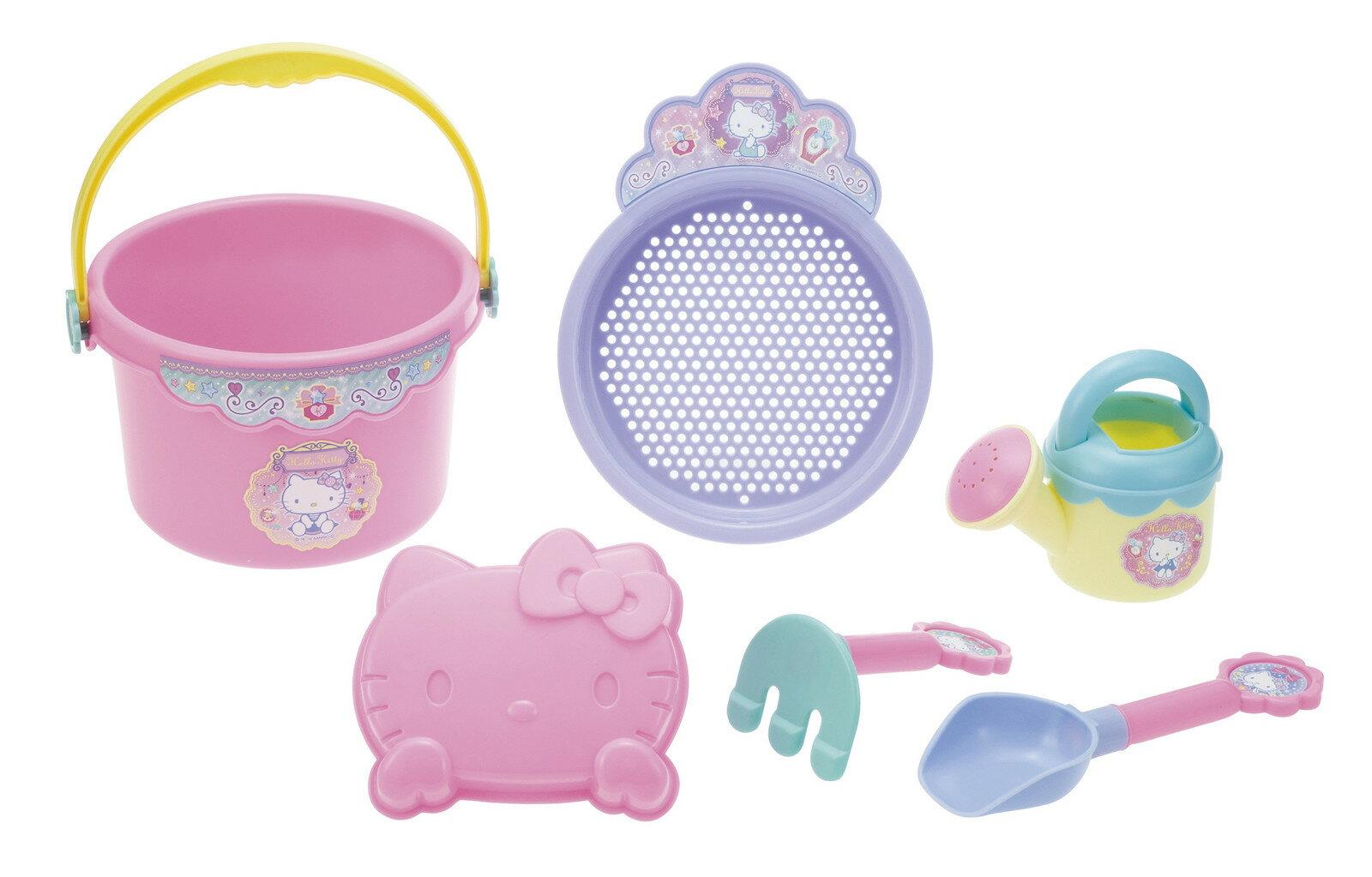 【真愛日本】17062900003 挖沙玩具六件組-KT 三麗鷗 kitty 凱蒂貓 堆沙堡 鏟子 水桶 沙灘玩具