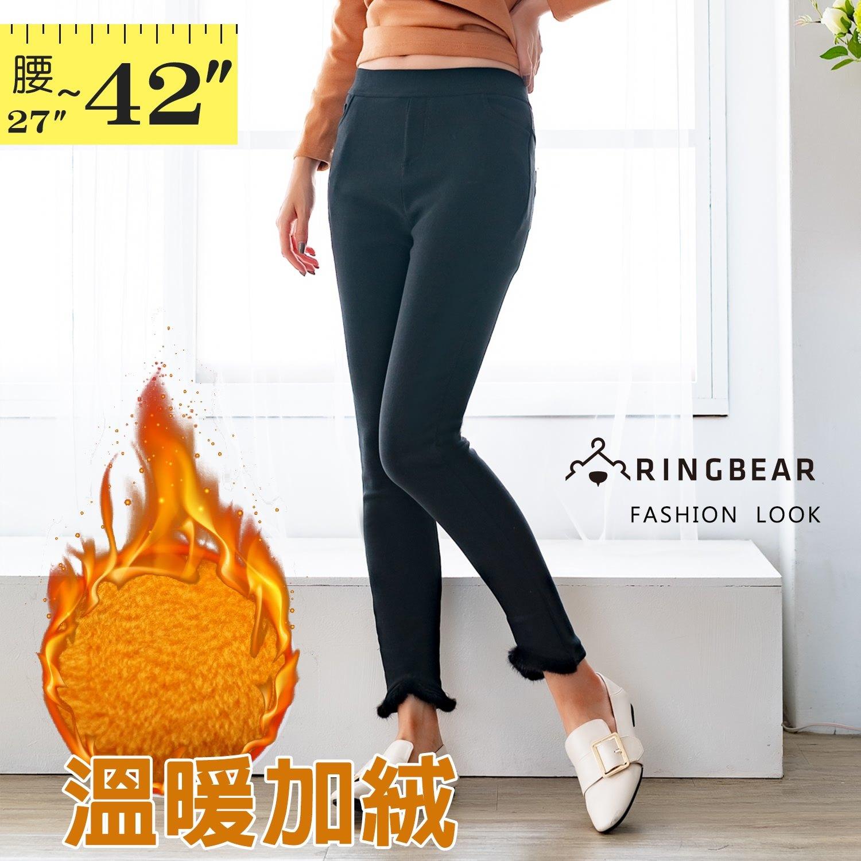 鉛筆褲--舒適保溫拼接真毛鬆緊口袋彈力顯瘦百搭休閒內搭褲(黑XL-5L)-R232眼圈熊中大尺碼 1