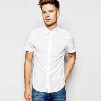 美國百分百【全新真品】Tommy Hilfiger 牛津 襯衫 TH 短袖 上衣 休閒衫 白色 XS S 號 H851