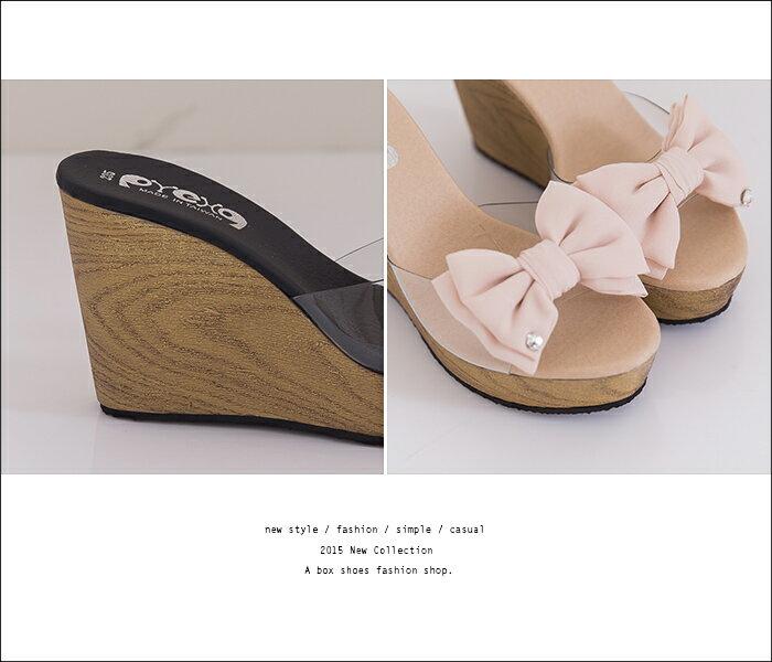 格子舖*【KP6637】日系雜誌 性感透視膠片 卡哇伊雪紡蝴蝶結 仿木紋厚底增高楔型 拖鞋 2色 2