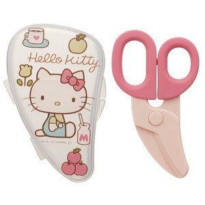 【真愛日本】17022800041 食物剪刀附盒-KT70年代粉 三麗鷗Kitty凱蒂貓 食物剪 兒童幼兒 離乳食食物