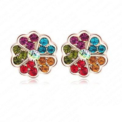 玫瑰金耳環 鑲鑽純銀耳飾~愛心小花 可愛迷人女飾品2款73bj65~ ~~米蘭 ~