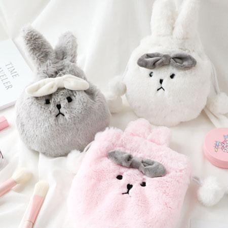 蝴蝶結毛絨絨兔子抽繩束口袋兔子零錢袋零錢包收納袋束口袋束口包萬用袋【N102835】