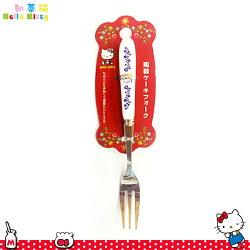 三麗鷗凱蒂貓Hello Kitty 陶瓷把手 不鏽鋼叉子蛋糕叉水果叉 陶瓷不鏽鋼餐具 日本進口正版 170293