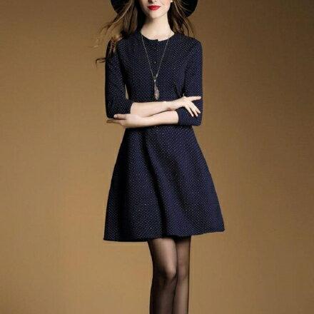 韓風衣舍:韓風衣舍韓版時尚七分袖收腰顯瘦洋裝AB238