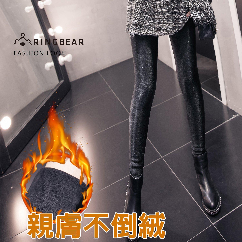 內搭褲--質感亮面彈性寬版鬆緊帶不倒絨內裡貼身光澤長褲(黑XL-4L)-R282眼圈熊中大尺碼 0