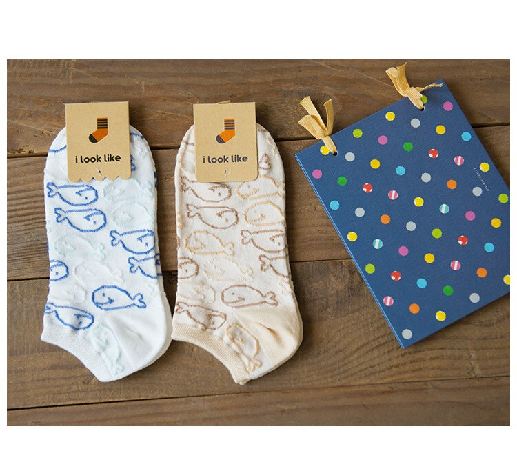 【現貨- i look like】2016春夏新款鯨魚彎板全棉襪 卡通系列女性純棉船襪