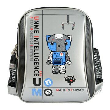 X射線【Cs3037a】UnMe護脊鏡面後背書包(Robot機器人站.銀)3037台灣製造,開學必備/兒童書包/雙肩包