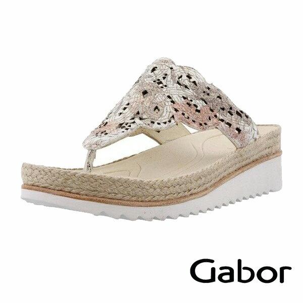 【GABOR 單一降價 │全店免運│】GABOR  雕紋簍空高雅騰滾邊夾腳涼拖鞋 粉 0