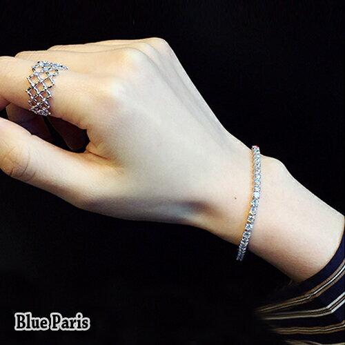 手鍊 - 時尚奢華閃耀水鑽K金手鍊【21586】Blue Paris【防過敏】 0
