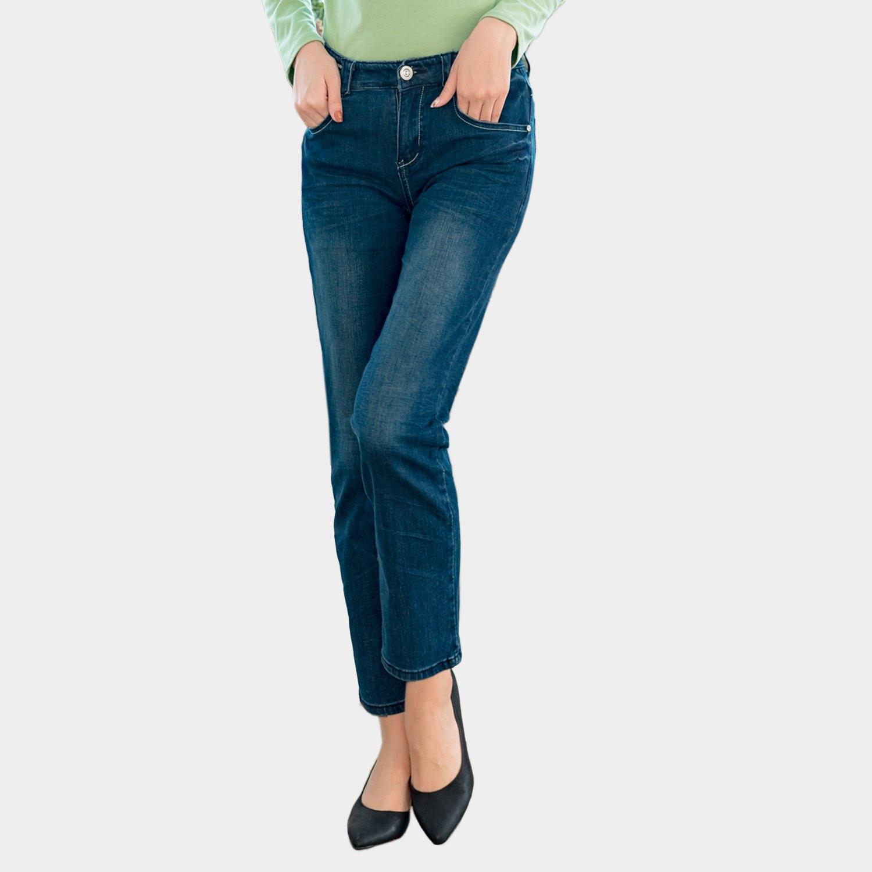 修身--完美曲線定番勻染藍刷白爪痕假腰帶中腰直筒牛仔褲(牛仔藍S-7L)-N29眼圈熊中大尺碼 0
