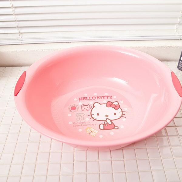 【真愛日本】16071200029晶亮寬邊臉盆S-KT大草莓粉  三麗鷗 Hello Kitty 凱蒂貓 臉盆 洗臉盆 衛浴用品