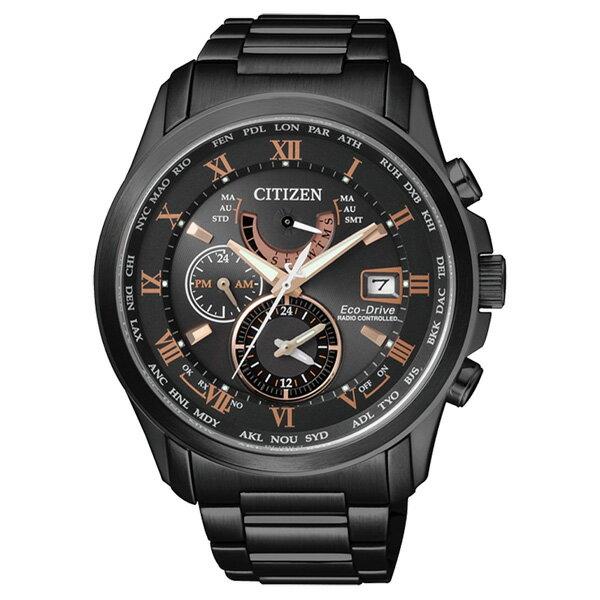 CITIZEN星辰AT9085~53E動感 電波光動能腕錶  黑面43mm
