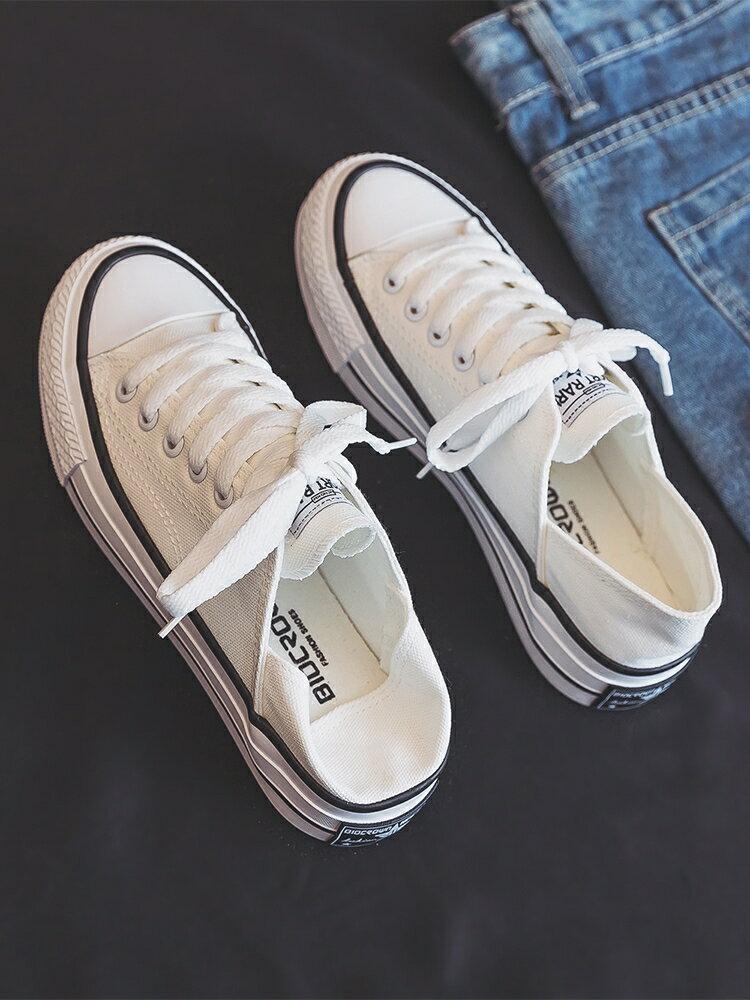 半拖鞋 半拖帆布鞋女夏2021年新款薄款百搭一腳蹬小白鞋街拍板鞋ins潮鞋 創時代3C  交換禮物 送禮