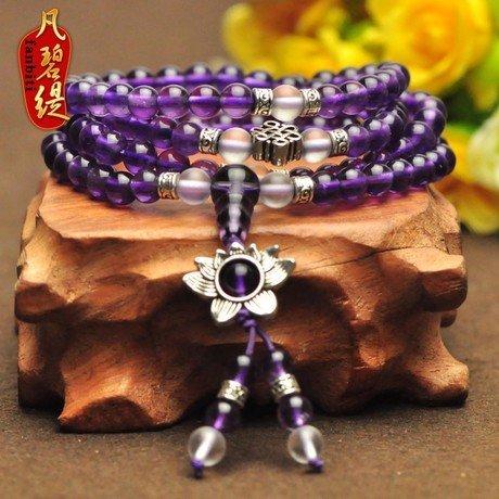 蓮花紫水晶108顆佛珠水晶手鏈多層水晶手鏈