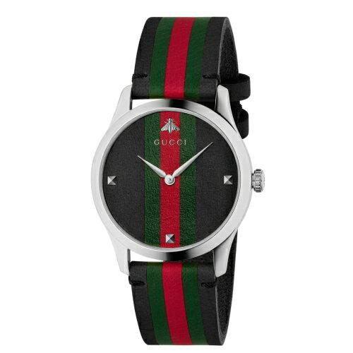 GUCCIG-Timeless小蜜蜂條紋logo牛皮時尚腕錶1264079