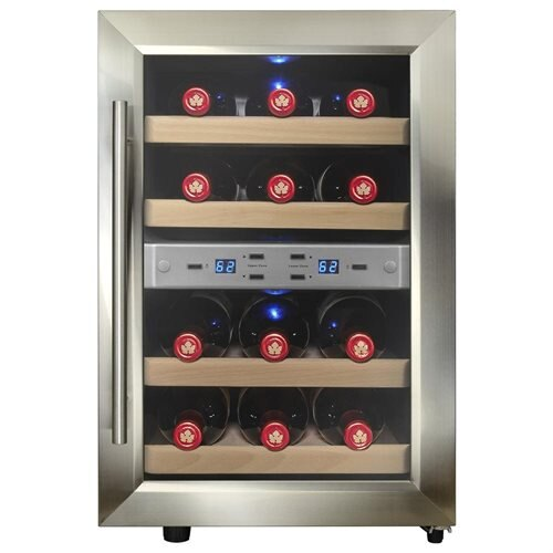 AKDY 12 Bottles Dual Zone Freestanding Reversible Doors Push Button Wine Cooler Chiller Cellar 0